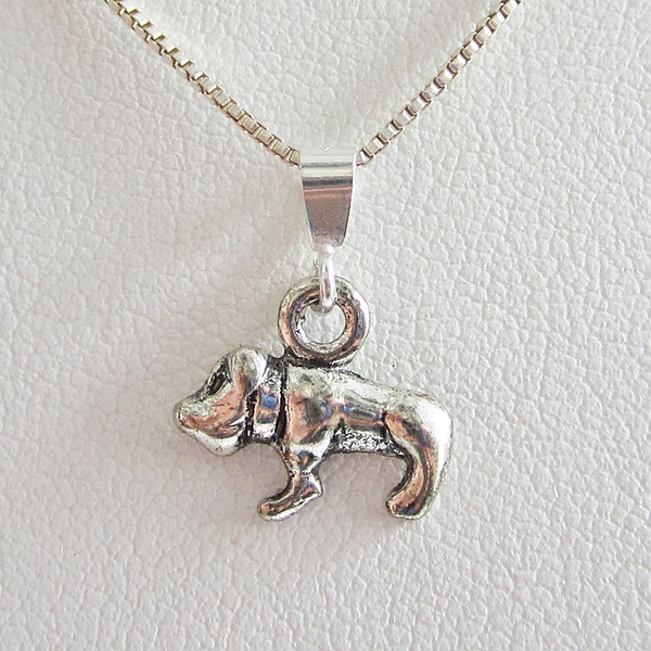 Bulldog Mini 2D Silver-Plated Pendant Charm and Necklace