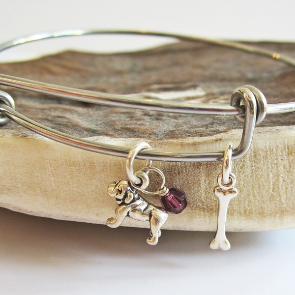 Bulldog Mini Bone Dangle Stackable Bangle Bracelet