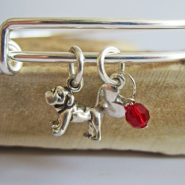 "Bulldog Mini Heart Stackable Bangle Bracelet (2.5""-3\"")"