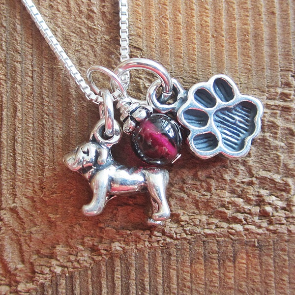 Bulldog Mini Paw Print Sterling Silver Necklace