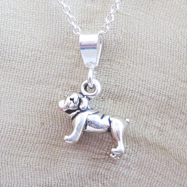 Bulldog Mini Pendant Charm and Necklace
