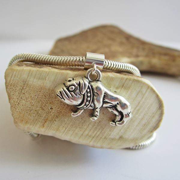 Bulldog Large 2D Silver-Plated European-Style Charm and Bracelet