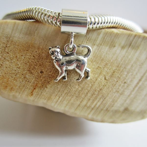 Cat Mini Sterling Silver European-Style Charm and Bracelet