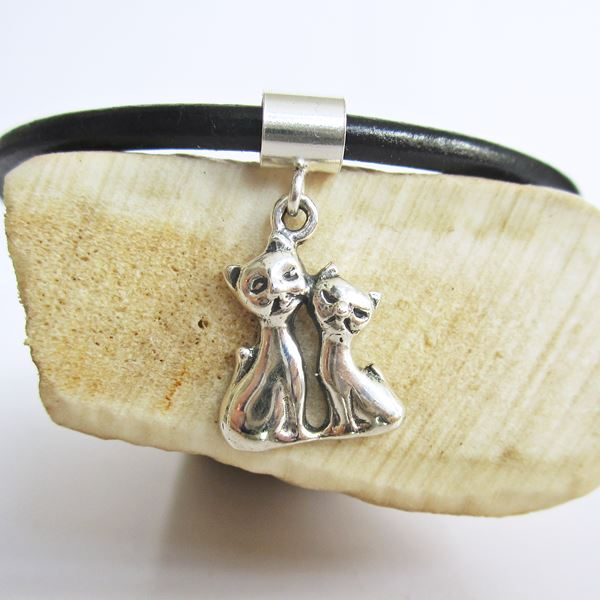 Siamese Cats Mini Sterling Silver European-Style Charm and Brace