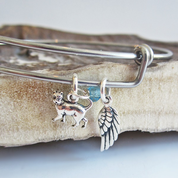Cat Mini Angel Wing Stackable Bangle Bracelet
