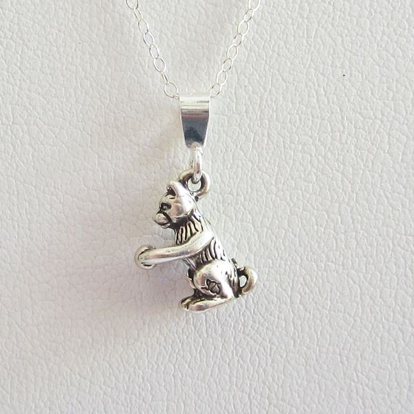 Cat with Ball Mini Pendant Charm and Necklace