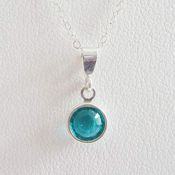 Aqua Birthstone Channel Drop Pendant Charm and Necklace