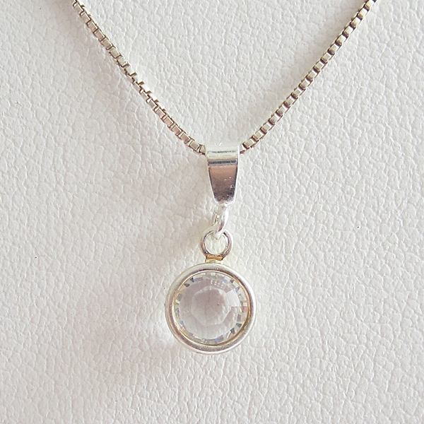Clear Birthstone Channel Drop Pendant Charm and Necklace