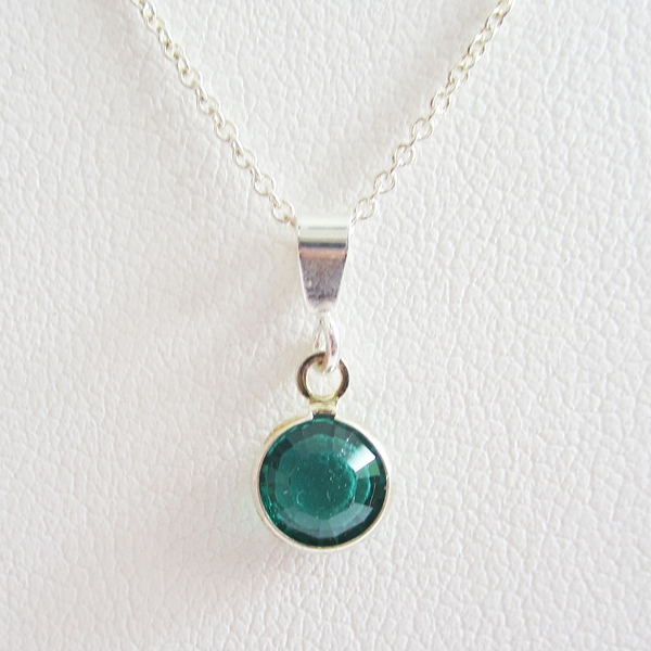 Green Birthstone Channel Drop Pendant Charm and Necklace