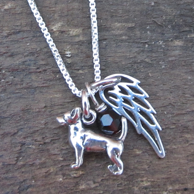 Chihuahua Mini Angel Wing Sterling Silver Necklace