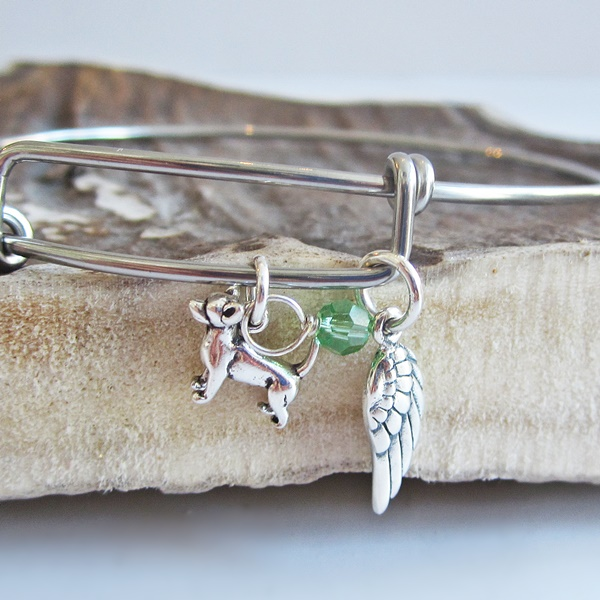 Chihuahua Mini Angel Wing Stackable Bangle Bracelet