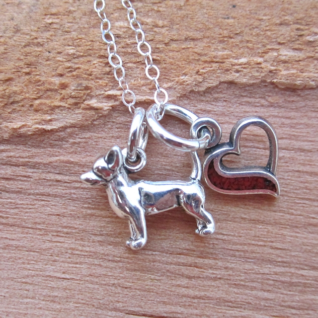 Chihuahua In My Heart Mini Sterling Silver Necklace