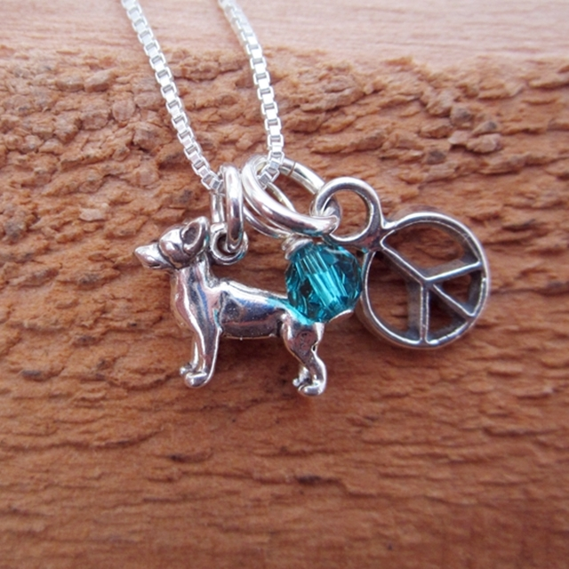 Chihuahua Mini Peace Sterling Silver Necklace