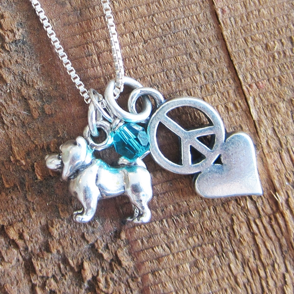 Chow Mini Peace Love Sterling Silver Necklace