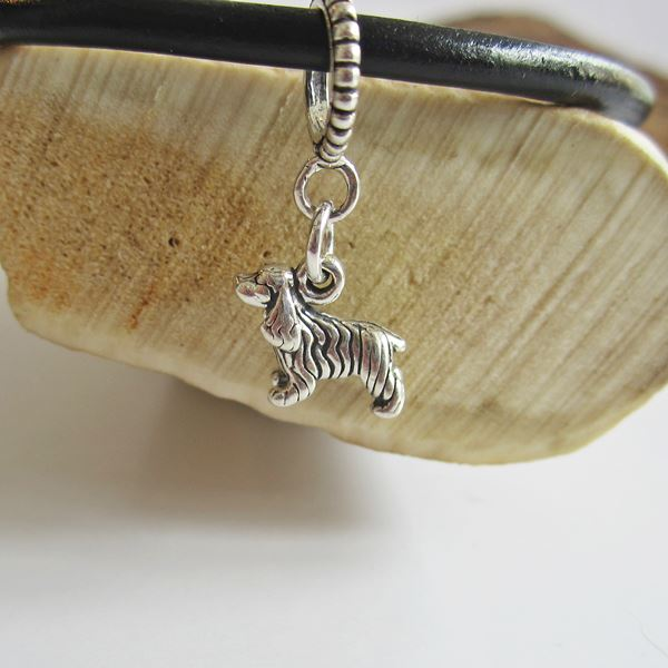 Cocker Spaniel Mini Str Silver European-Style Charm and Bracelet