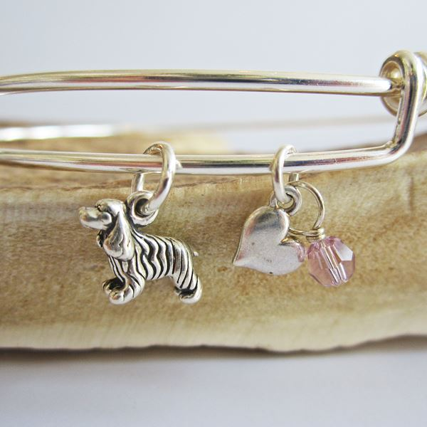 "Cocker Spaniel Mini Heart Stackable Bangle Bracelet (2.5""-3\"")"