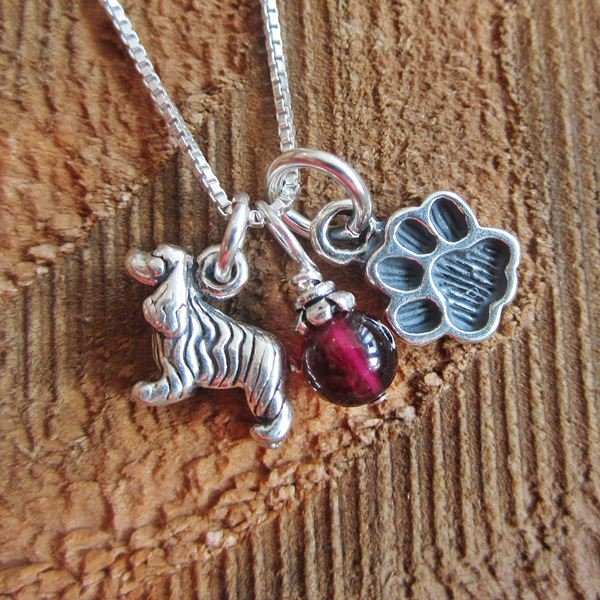 Cocker Spaniel Mini Paw Print Sterling Silver Necklace