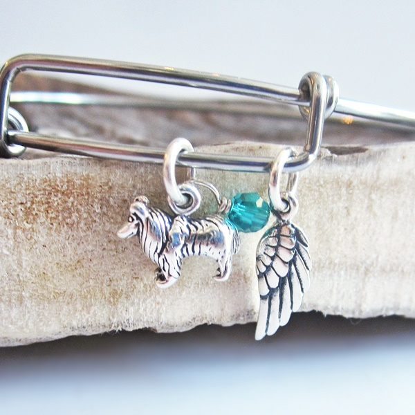 Collie Mini Angel Wing Stackable Bangle Bracelet