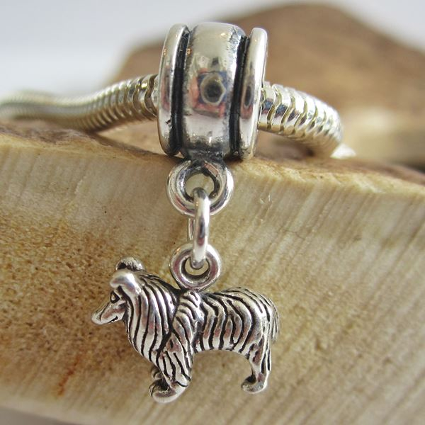 Collie Mini Sterling Silver European-Style Charm and Bracelet