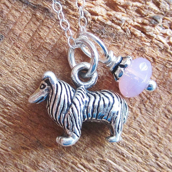Collie Glass Bead  Sterling Silver Necklace
