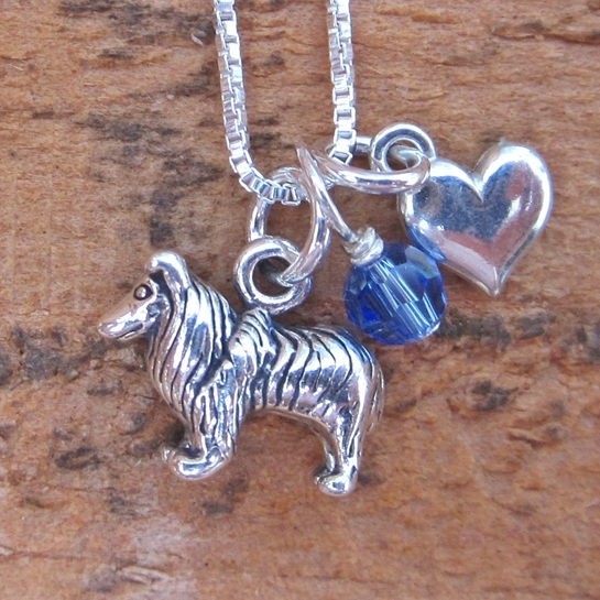 Collie Mini Heart Sterling Silver Necklace