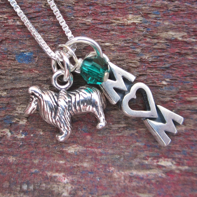 Collie Mom Mini Sterling Silver Necklace