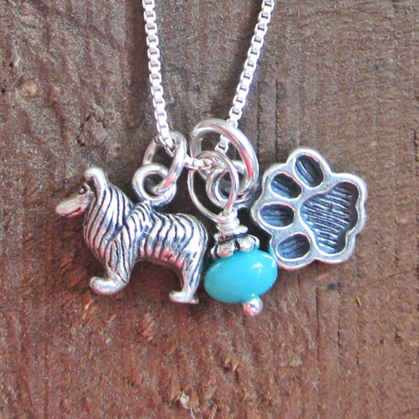 Collie Mini Paw Print Sterling Silver Necklace