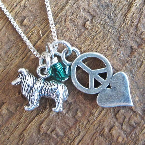 Collie Mini Peace Love Sterling Silver Necklace