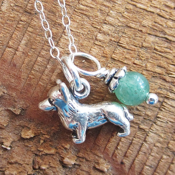 Corgi Glass Bead  Sterling Silver Necklace