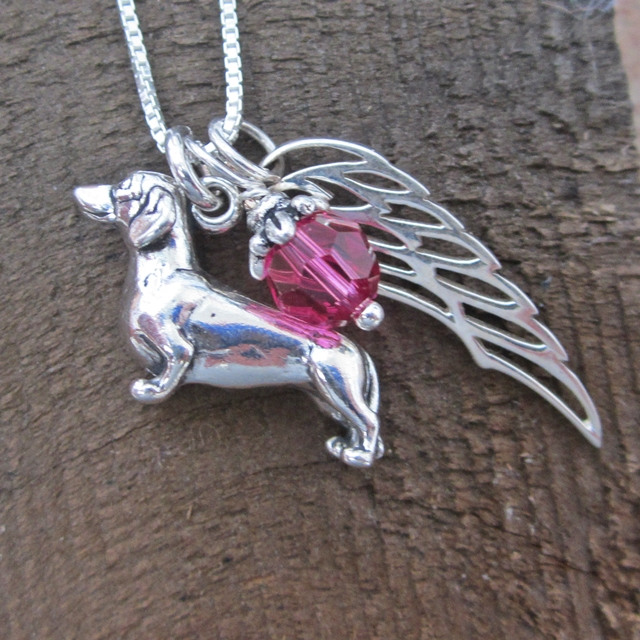 Dachshund Large Angel Wing Sterling Silver Necklace