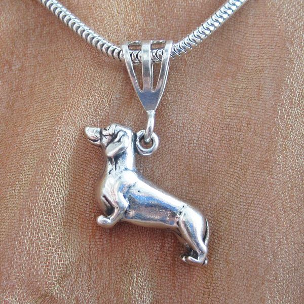 Dachshund Large Pendant Charm and Necklace