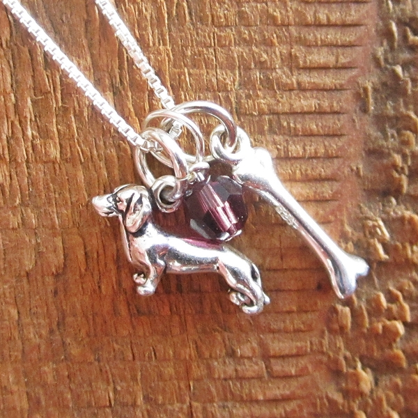 Dachshund Dog Bone Mini Sterling Silver Necklace