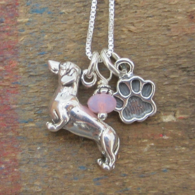 Dachshund Paw Print Sterling Silver Necklace (large)