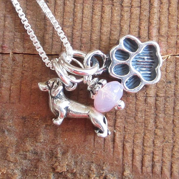 Dachshund Mini Paw Print Sterling Silver Necklace