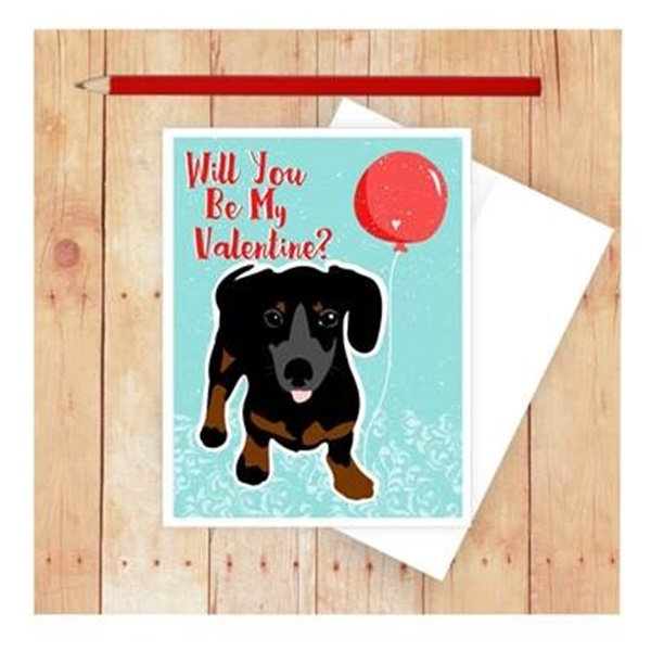 Happy Valentine\'s Day Dachshund Note Card