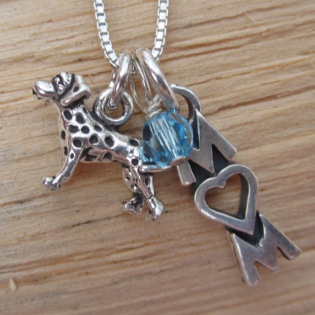 Dalmatian Mom Mini Sterling Silver Necklace