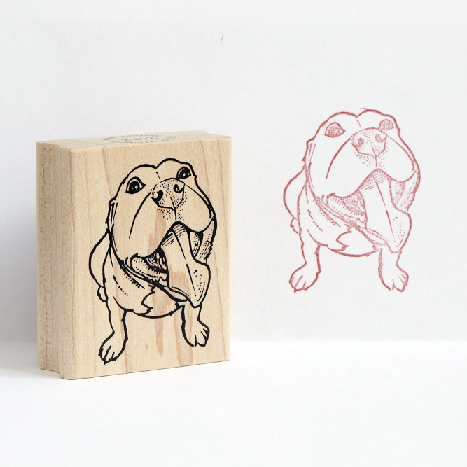 Pit Bull With Tongue Rubber Stamp