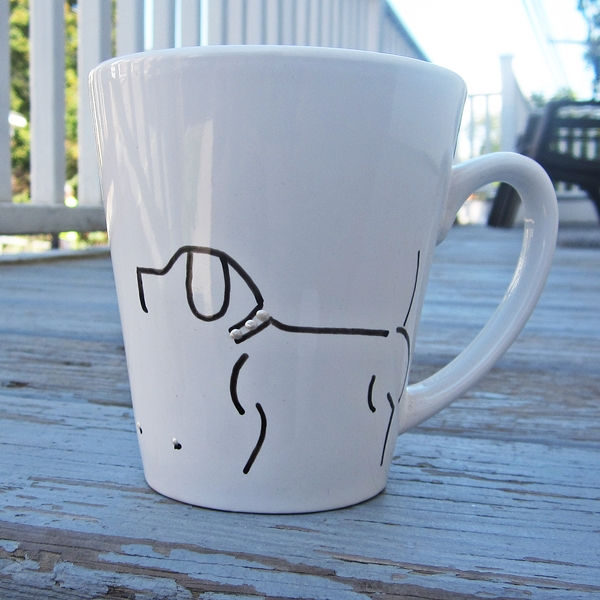 Dog and Bone Handpainted 12oz. Mug