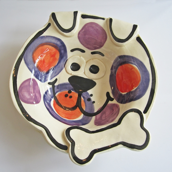 Handmade Dog Bone Medium Pottery Dog Bowl