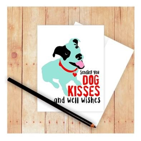 Dog Kisses and Well Wishes Pit Bull Note Card