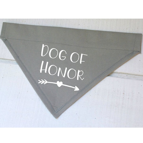Dog of Honor Grey with White Arrow Canvas Dog Bandana