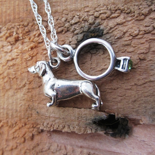 Dachshund Engagement Ring Large Sterling Silver Necklace