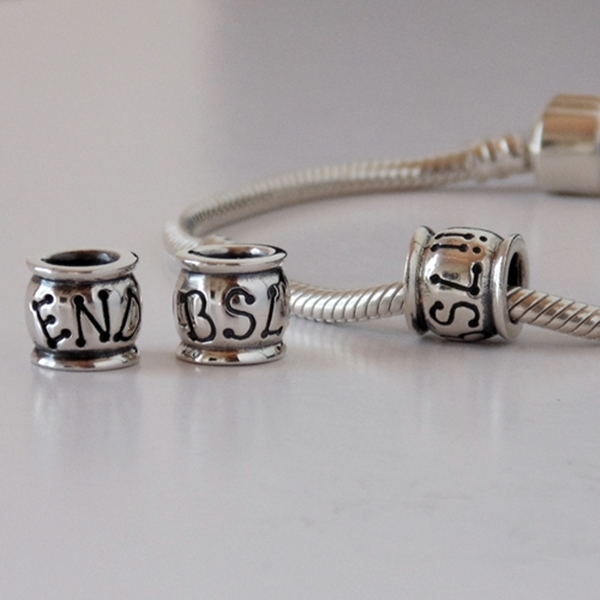 END BSL Charm (Sterling Silver) and Bracelet