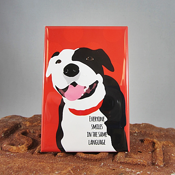 Pit Bull Everyone Smiles Dog Art Magnet