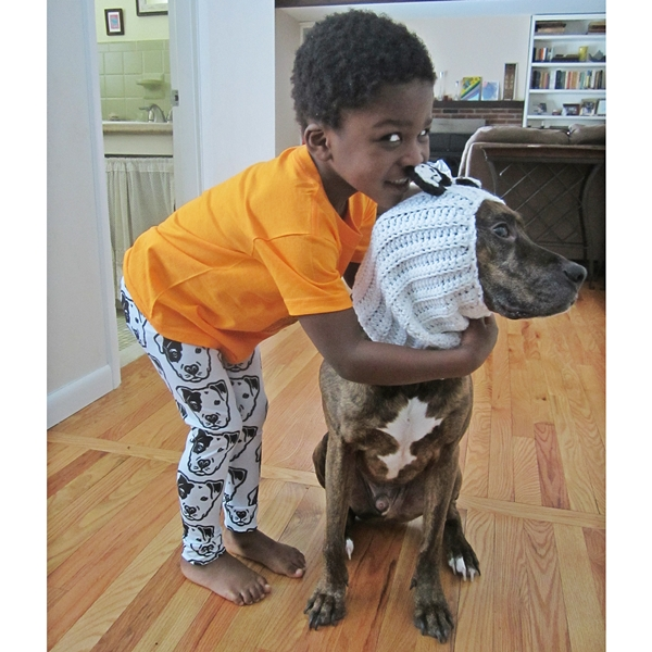Black & White Pit Bull Face Kids Leggings
