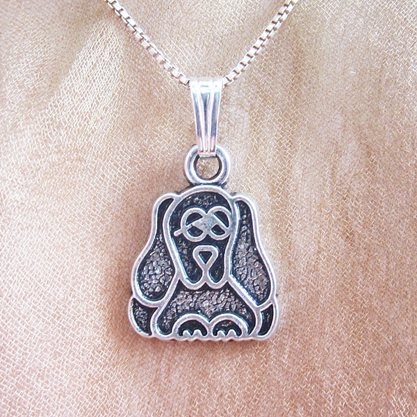 2D Pooch Silver-Plated Pendant Charm and Necklace