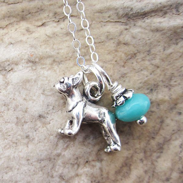 French Bulldog Glass Bead  Sterling Silver Necklace