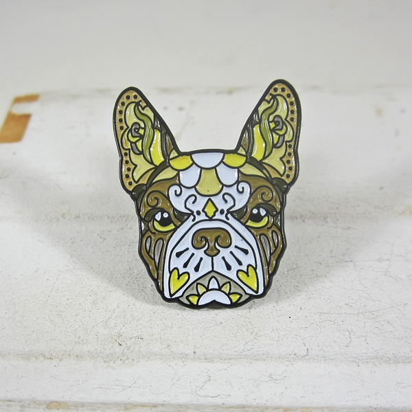 French Bulldog Gold Enamel Lapel Pin