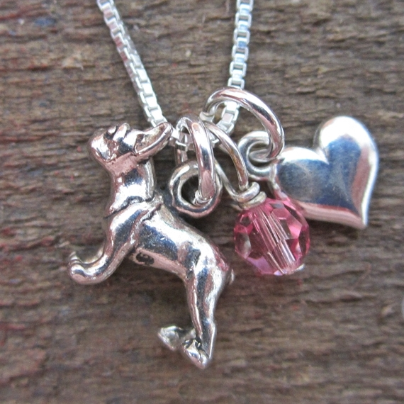 French Bulldog Mini Heart Sterling Silver Necklace