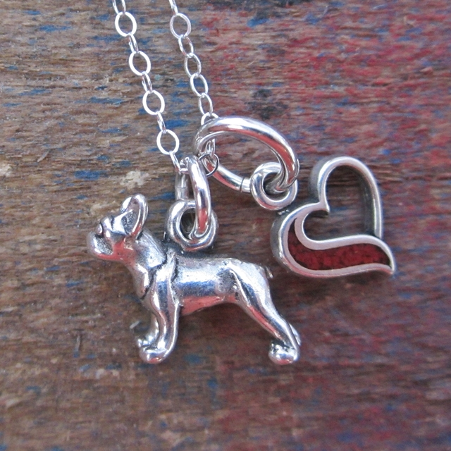 French Bulldog In My Heart Mini Sterling Silver Necklace